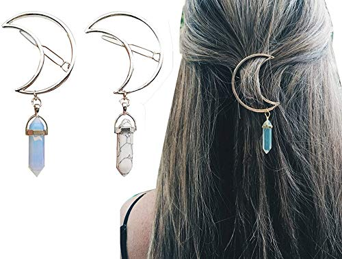 2 Pcs Women Boho Stone Moon Pendant, Statement Hairpin Hair Clip Jewelry Accessories - Hollow Moon Hairpin Geometric Colored Gem Barrette Artificial Gem - Wedding Hair Clip (Blue and White)
