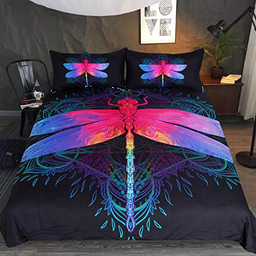 Sleepwish Black Neon Dragonfly Bedding Purple Pink Dragonfly Green Mandala Pattern Bed Set 3 Piece Teens Kids Insect Print Duvet Cover (Twin)
