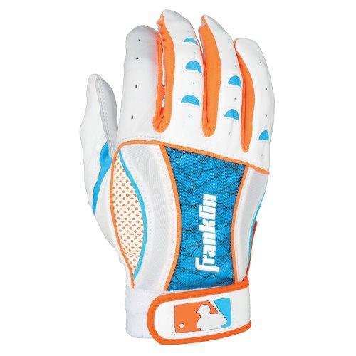 UPC 025725403424, Franklin Sports Adult MLB Insanity II Series Batting Gloves, Pearl/Electric Blue/Neon Orange, Large