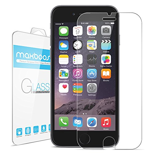 iPhone 6 Plus Screen Protector Maxboost iPhone 6 Plus Glass Screen Protector (5.5) - [Tempted Glass] Worlds Thinnest Ballistics Glass 99% Touch-screen Accurate Round Edge [0.2mm] Ultra-clear Glass Screen Protector Perfect Fit for iPhone 6 Plus (...