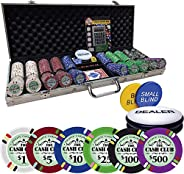 Poker Chip Set 500 | The Cash Club 14 Gram Chips with Aluminum case | with Bicycle Cards, 3 inch Dealer Button