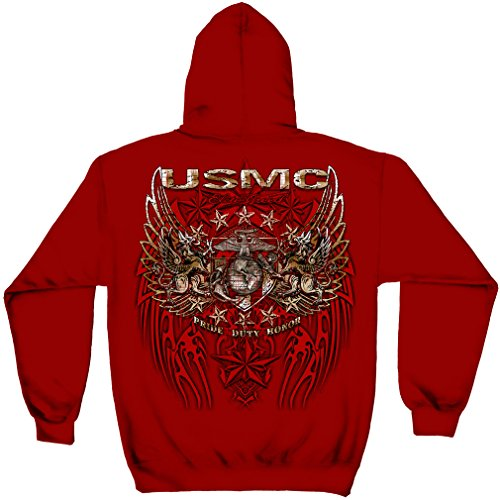 Us Marine Corps Hooded Sweatshirt  100  Cotton Casual Mens Shirts  Show Your Pride With Our Pride Duty Honor Stars Silver Foil Hundens Long Sleeve Hooded Sweatshirts For Men Or Women  Large