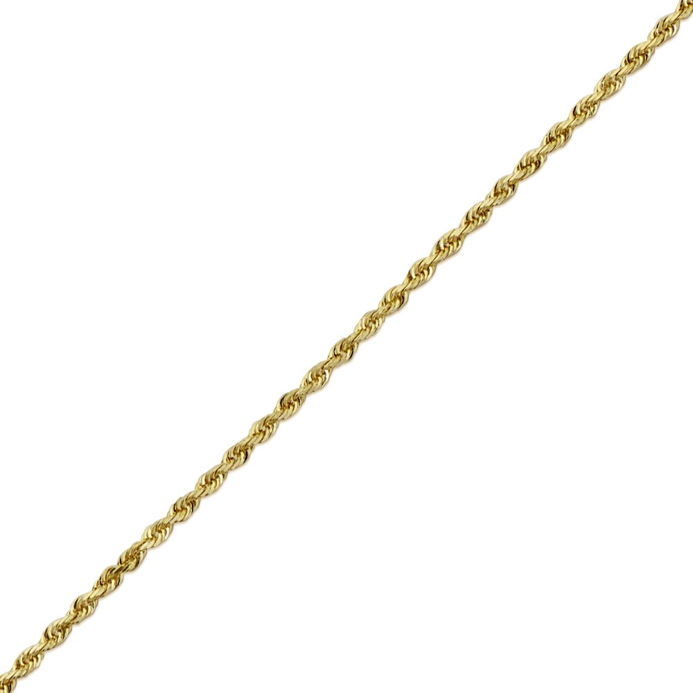 LoveBling 14K Yellow Gold 1.5mm 18 Solid Diamond Cut Rope Chain Necklace with Lobster Lock