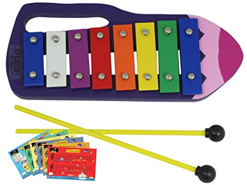 D'Luca YSQB Kids Crayon 8 Notes Xylophone Glockenspiel with Music Cards by D'Luca