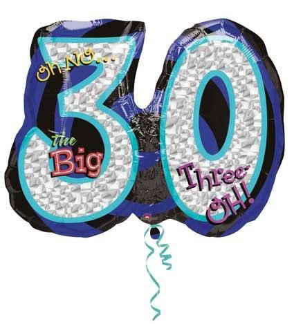 Oh No Birthday 30 Super Shape Prismatic Balloon (1 ct) (1 per package)