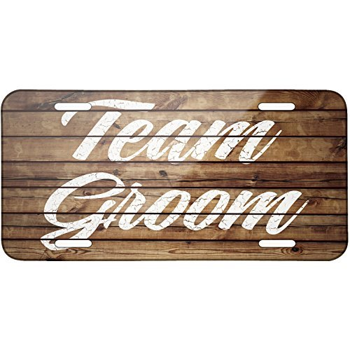 (Painted Wood Team Groom Metal License Plate 6X12 Inch )