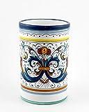 Hand Painted Italian Ceramic 7.5-inch Utensil Holder Ricco Deruta Blu - Handmade in Deruta