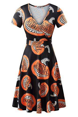 MSBASIC Halloween Dress Plus Size, Womens Halloween Costume Short Sleeve A Line Dress (Pumpkin, XX-Large) -