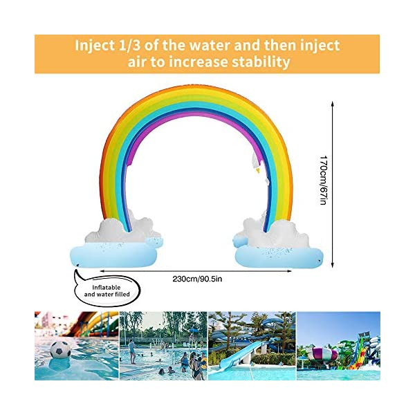 """Inflatable Rainbow Yard Summer Sprinkler Toy, Over 6"""" Long Outdoor Lawn Rainbow Arch Water Spray Toy for Kid Child Adult Games 5"""