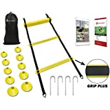 INTENT SPORTS Professional Speed Agility Ladder with Grip Plus Training Equipment Set with 10 Cones. Dramatically Improve Quickness, Kinetic Leg Resistance. Heavy Duty for Pro Workouts. Guide & Ebook