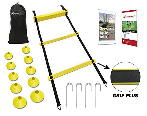 Professional Speed Agility Ladder Training Equipment Set with 10 Cones to Dramatically Improve Quickness, Kinetic Leg Resistance. Heavy Duty with Grip Plus for Pro Workouts. WITH Guide & Ebook by INTENT SPORTS