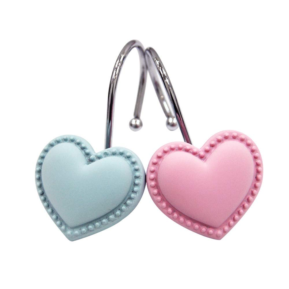 CXYGHXGY Stainless Steel Shower Curtain Hook, Heart Shower Curtain Ring, Resin Hook, Fresh Shower Curtain Accessories, Pink Pink Blue (Size : 16 Pieces)
