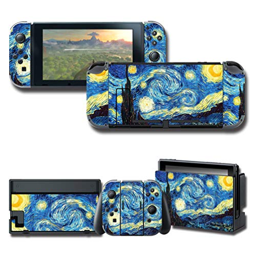 (Skin Decal Starry Night by Van Gogh Vinyl Cover Stickers Protector Wrap Full Set Faceplate for Nintendo Switch Console Joy-Con Dock)