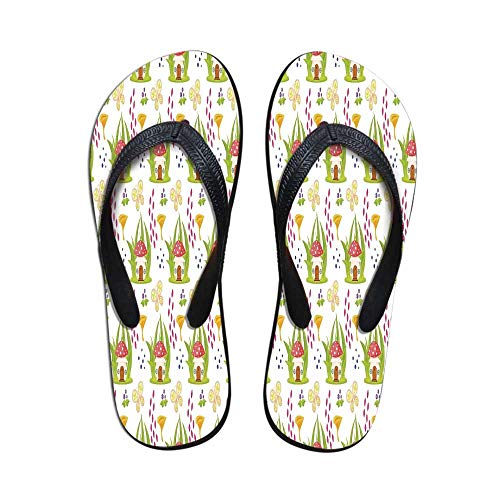 Mushroom Decor Printing Flip Flops,Spring Forest with Toadstool House Cartoon Pattern Kids Decor Fictional Fairytale Image Art for Home or Holiday,US Size 7