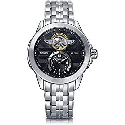 Time100 Men's Army-series Classic Business Skeleton Automatic Stainless Steel Watch #W60049G.03A