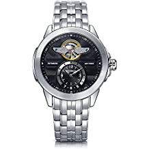 Time100 Mens Skeleton Automatic Watches Army-Series Classic Business Stainless Steel Watch for Men Black