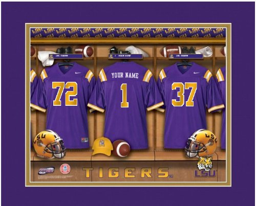 Football Personalized Tigers (NCAA Locker Room Print LSU Tigers Football Personalized Framed)