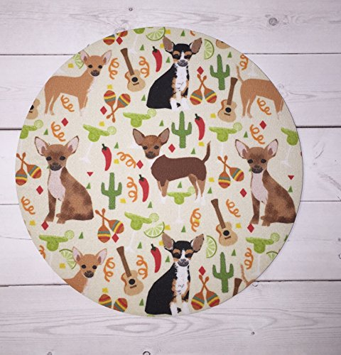 Chihuahua dogs - Mouse Pad mousepad / Mat - round - Computer Accessories Geekery Custom Desk Coworker Gifts Office Gifts
