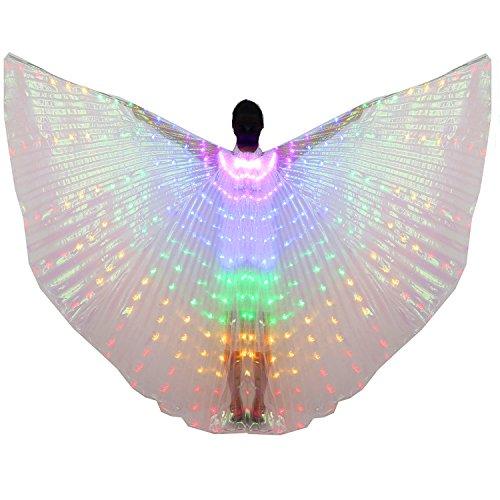 Dance Fairy Belly Dance LED Colorful Isis Wings with Stick(Purple-Blue-Green-Yellow-Red) -