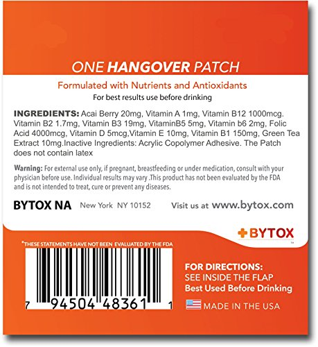 Bytox The Hangover Patch with 12 Organic All Natural Vitamins 5 Pack 5 Patches Discount