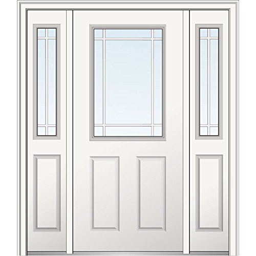 National Door Company Z029527L Steel, , Left Hand In-swing, Exterior Prehung Door, Internal Grilles 1/2 Lite 2-Panel, 36''x80 with 12'' Sidelites by National Door Company