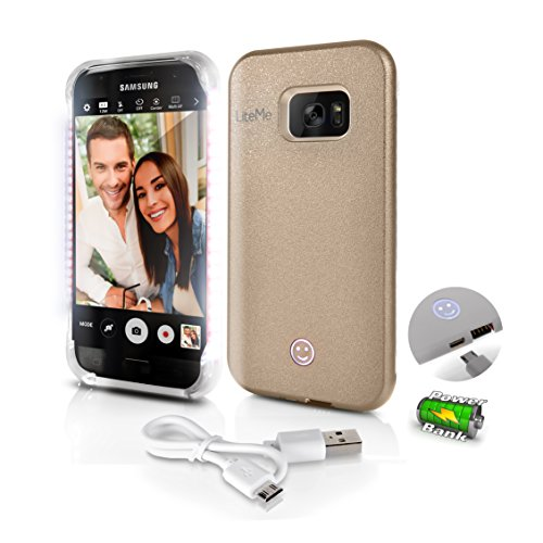 Premium Phone Cases for Samsung S7 Edge Selfie LED Light Case with Built-in Power Bank Phone Charger - Buy Selfie a Stick LED Illuminated Flashing Light, Gold (SL301S7GD)