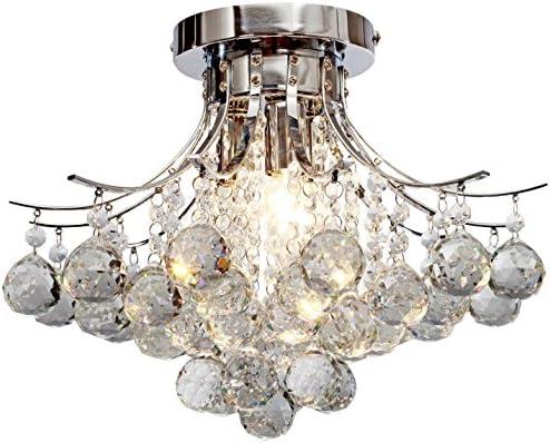 Saint Mossi Chandelier Modern K9 Crystal Raindrop Chandelier Lighting Flush Mount LED Ceiling Light Fixture for Dining Room Bathroom Bedroom Livingroom Pendant Lamp 11 H 16 W