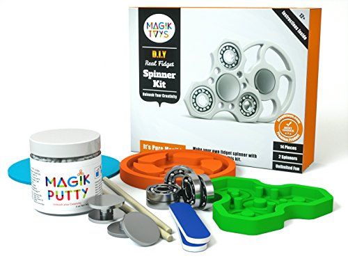 Magiktoys DIY Fidget Spinner Kit - Creative ADHD Toys for Kids, Focus on Making Something Special. Kids get to Enjoy Best Hands on Experience with Mom and Dad. Make Anything with Safe The Magik Putty (Best Fidget Spinner To Get)