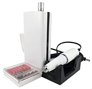 UZMEI Manicure and Pedicure Tools 30000RPM Cordless Rechargeable Electric Nail Drill with 6pc Drill Bits for Professional or Home Use (White)