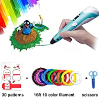 3D Pen, 3D Doodler Drawing Printing Pen Children Birthday Gifts Art Crafts DIY Perfect Gift for Kids and Adults Birthday Present with Filament Refills 10 Color 1.75mm PlA 16 Ft Each (3D Pen Set)