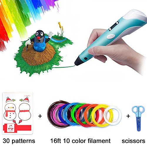 3D Pen, 3D Doodler Drawing Printing Pen Children Birthday Gifts Art Crafts DIY Perfect Gift for Kids and Adults Birthday Present with Filament Refills 10 Color 1.75mm PlA 16 Ft Each (3D Pen Set) by Bling Bling