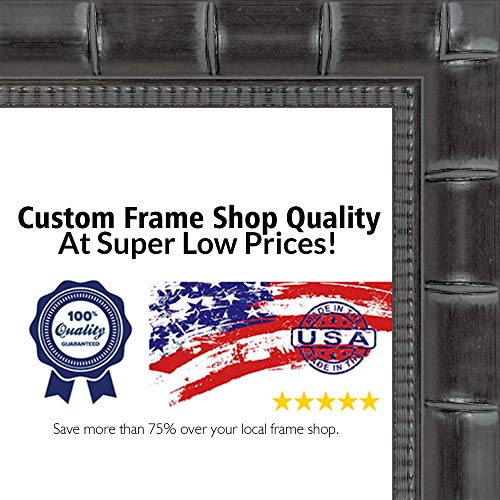 (Poster Palooza 24x32 Bamboo Black Wood Picture Frame - UV Acrylic, Foam Board Backing, Hanging Hardware Included!)
