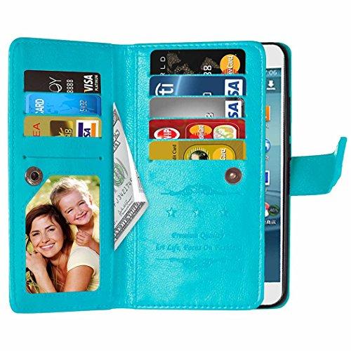 SRY-Conjuntos de teléfonos móviles de Huawei Huawei Y3 II Funda Folio Funda Color Sólido Funda de piel sintética Premium Funda de Caja Monedero con 9 Tarjetas Cash Slots para Huawei Y3 II Proteja comp Blue