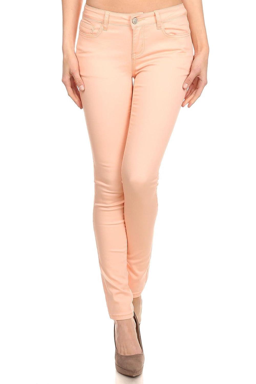 Enjean Women's Casual Colored Khaki Pants (Blush & Mint)