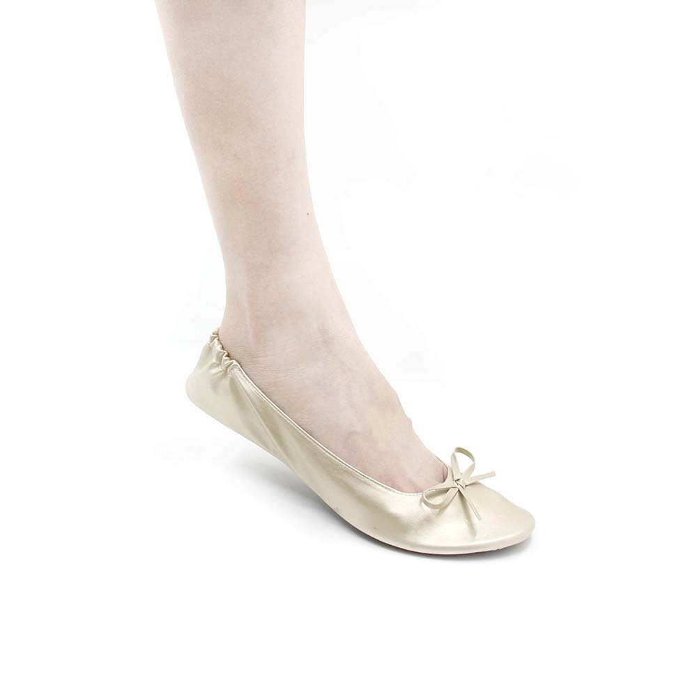 MR.SWEETIE Womens Wedding Gift Foldable Portable Flexable Outsole Roll up Ballet Flat Shoes (M, Gold)