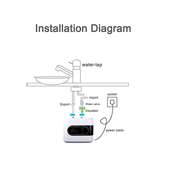Calentador de agua eléctrico de bajo voltaje de 5L Calentador de agua instantáneo de 3kW Nuevo modelo [Clase de eficiencia energética A] Baño, Cocina, ...