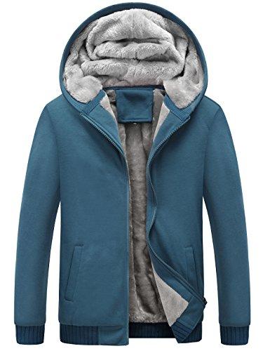Yeokou Men's Winter Thicken Fleece Sherpa Lined Zipper Hoodie Sweatshirt Jacket (Large, Blue) ()