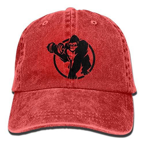 DEFFWB Hat Gorilla Sport Denim Skull Cap Cowboy Cowgirl Sport Hats for Men Women