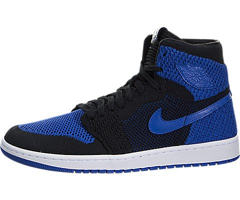 Jordan Men Air 1 Retro High Flyknit Black Game Royal-White Size 10.0 US