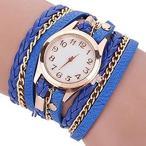 Dosige Pulsera del Relojes Retro Estilo Romano Cuarzo Reloj de Pulsera Mujeres Accesorios de Moda(Azul)