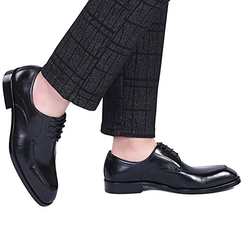 Merryhe Uomo Gentleman Scarpe Stringate In Vera Pelle Monk Scarpe Brogue Business Suit Scarpa Quadrupede Oxford Olio Cera Derby Per Mr Maschio Matrimonio Sera Lavoro Festa Black1