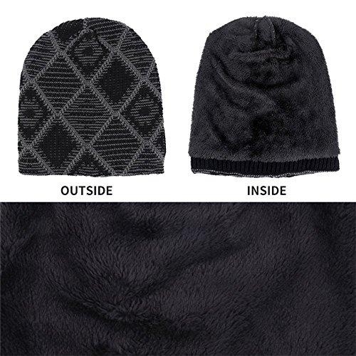 invierno con punto de de negro polar de forro Kfnire gorros los hombres cálido w6qgIHT