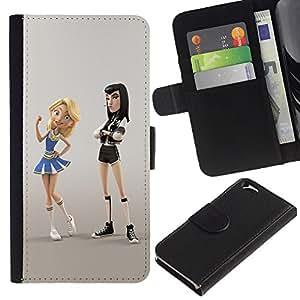 EJOY --- Funda cartera Funda de piel Premium piel sintética caso/Apple Iphone 6/–-cheerleader Punk Fight Cartoon Character