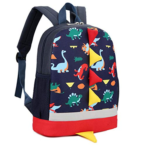 (Van Caro Toddlers Waterproof Dinosaur Travel Backpack Boys Girls Kindergarten Bookbag Deep Blue)