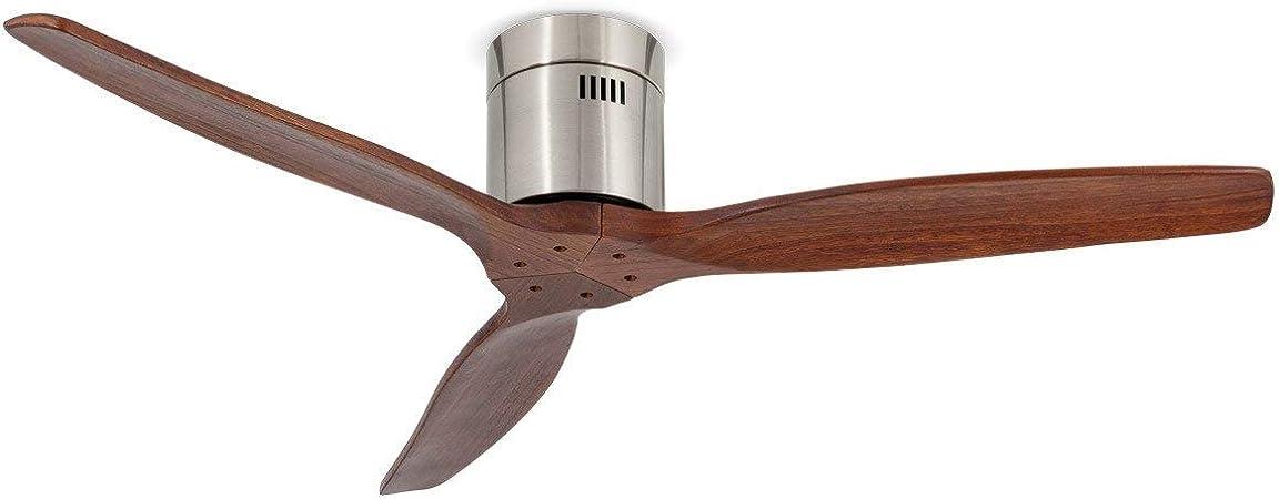 IKOHS AIRCALM DC - Ventilador de Techo con Mando, Bajo Consumo, Silencioso, Potente, 3 Aspas, 132 cm de Diámetro, 6 Velocidades, Temporizador, Aspas de Madera, 40W ...