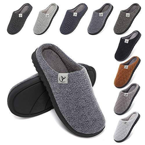 incarpo Hausschuhe Herren Memory Schaum Pantoffeln Gestrickte Baumwolle Korallen Vlies Gefüttert rutschfeste Hausschuhe für Drinnen und Draußen Hausschuhe