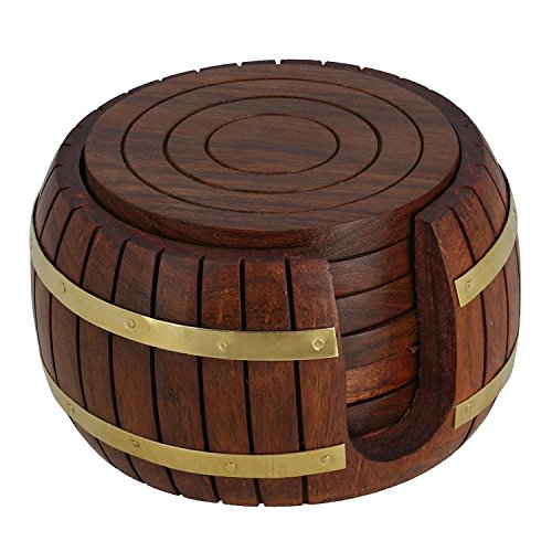 WhopperOnline Handmade Wooden Drink Coasters, Barrel Shape Wood Table Coaster - Set of 6 For Tea Cups Coffee Mugs Beer Cans Bar Tumblers and Water Glasses