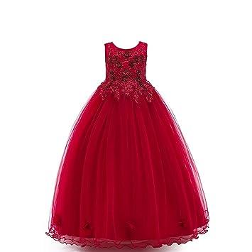 QSEFT Vestido De Niña Vestido De Princesa Elegante Fiesta Vestidos Formales  Sin Mangas Niños Ropa De 4-10Y  Amazon.es  Deportes y aire libre 517e7c1d004