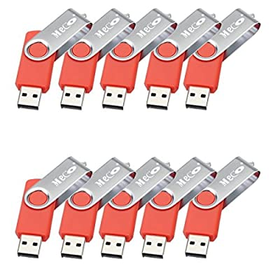 10Pcs 2GB 2G USB 2.0 Flash Drive Memory Stick Fold Storage Thumb Stick Pen Swivel Design Light Red by MECO CO.,LTD