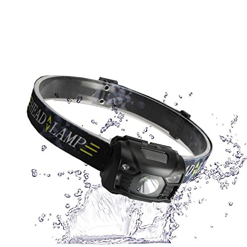 Three trees Sensor Flashlight Rechargeable Headlamp USB Cable Included, 5 Modes,Hands Adjustable(black)